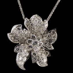 Platinum Diamond Flower Pendant