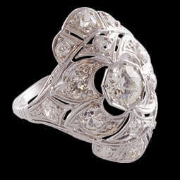Platinum Diamond Shield Ring