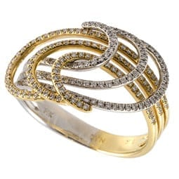 Two Tone Diamond Swirl Ring