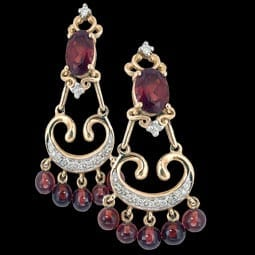 Vintage Garnet Diamond Chandelier Earrings